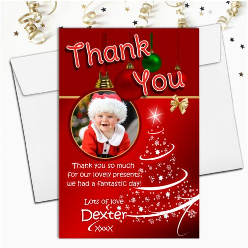 10 Personalised Christmas Xmas Thank you PHOTO Cards N38